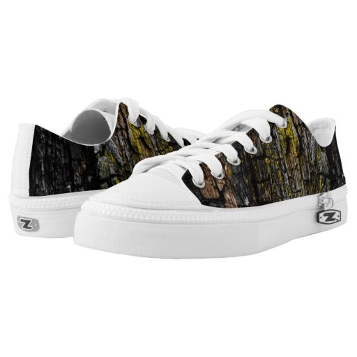 Cool Brown wood bark with yellow lichen ZIPZ® Low-Top Sneakers shoes by #PLdesign #cool #wood #fashion