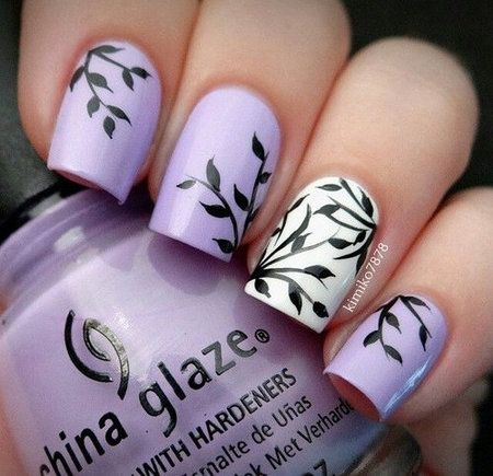 Pretty lavender #chinaglaze #nailart #leaves #kimiko7878