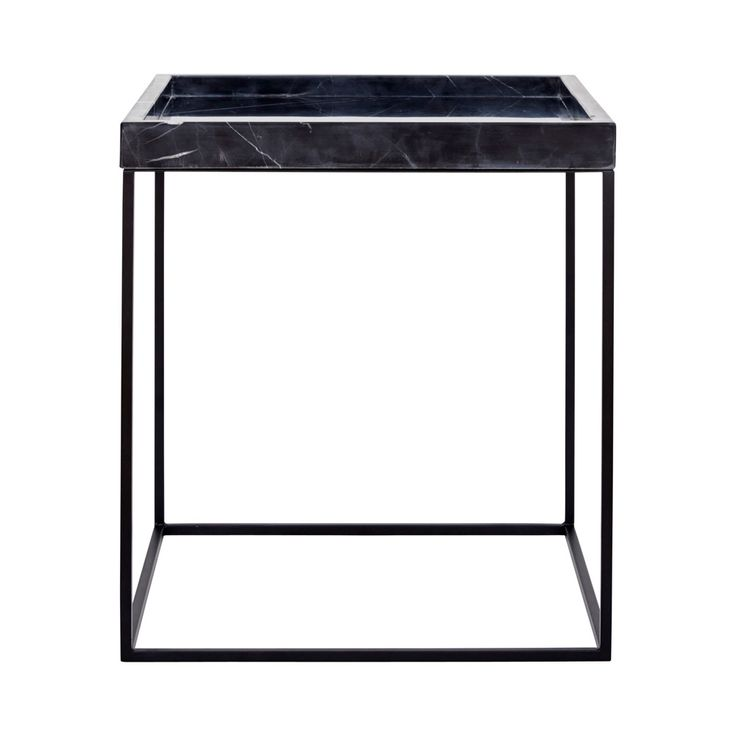 Shop online this Modern Designer Black Marble Tray Side Table with a black steel metal base. The perfect end table for your living room space.