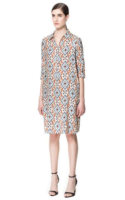 PRINTED SHIRT DRESS from Zara