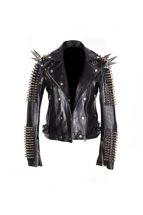 Ladies Fashion Jackets Studded Real Cow Hide Soft Leather Slim Fit Black Jacket