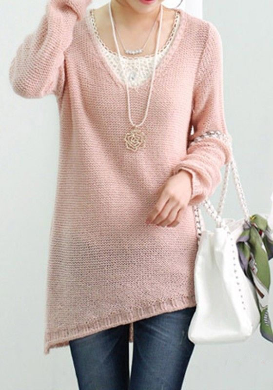 Thinking Pink for SPRING ! Pink Plain Irregular V-neck Long Sleeve Wool Sweatershirt #soft_pink #sweater #fashion