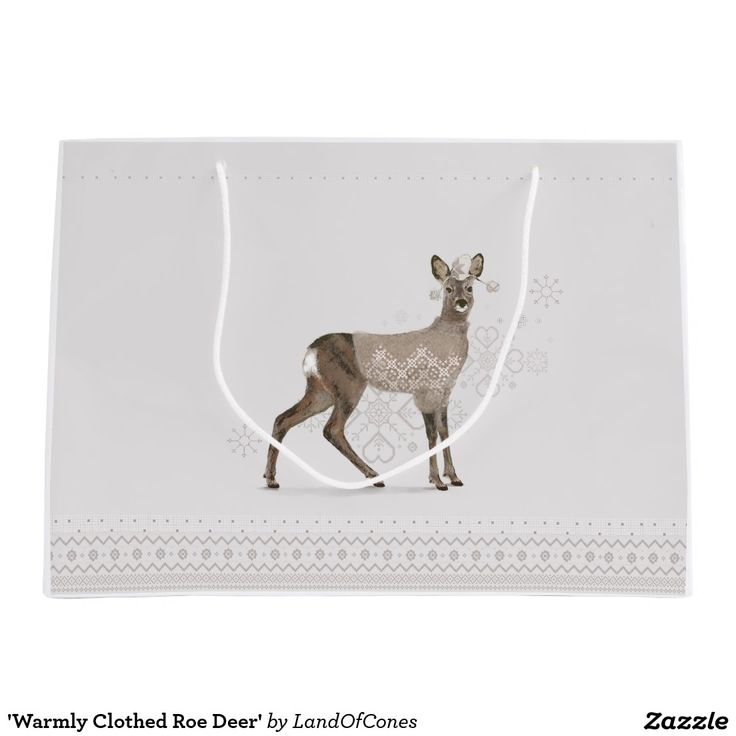 'Warmly Clothed Roe Deer' Large Gift Bag