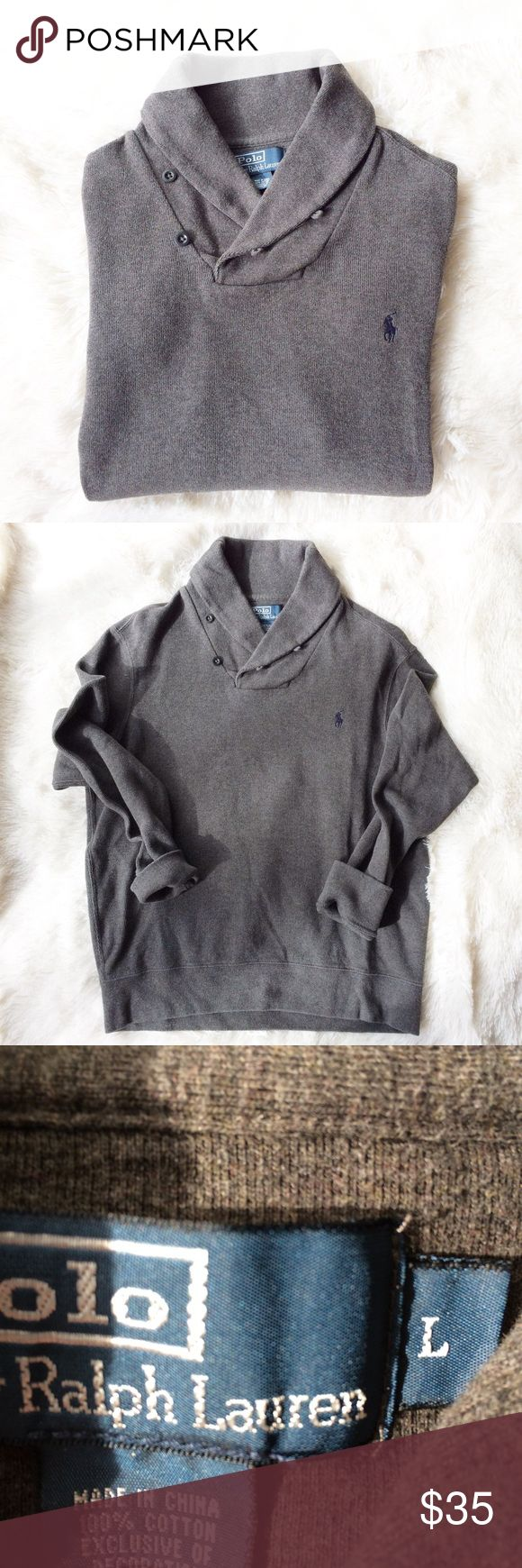 Polo by Ralph Lauren Men's Shawl Collar Sweater Polo by Ralph Lauren Men's Shawl Collar Sweater - size large - EUC - dark charcoal grey with navy logo - last photo shows style Polo by Ralph Lauren Sweaters