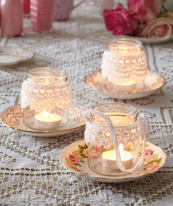 Crochet jam-jar trimmings - a lovely touch to romantic jam-jar tealights on your wedding day