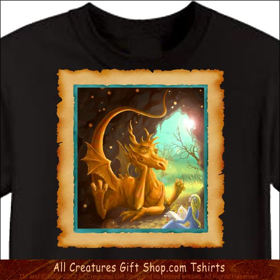 Dragon Tshirt -- Our profits go to animal rescue! Buy it here: http://www.allcreaturesgiftshop.com/dancing-pansies-tshirt-p-1193.html