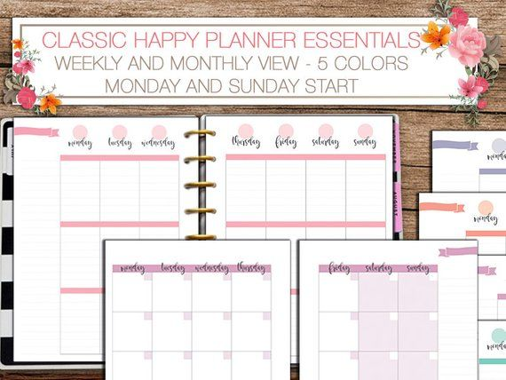 Happy planner printable weekly and monthly planner inserts