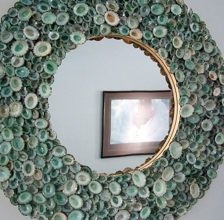 Beach nautical decor seashell mirror handcrafted with