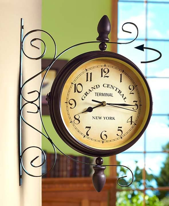 new nostalgic railroad terminal grand central station double sided wall clock