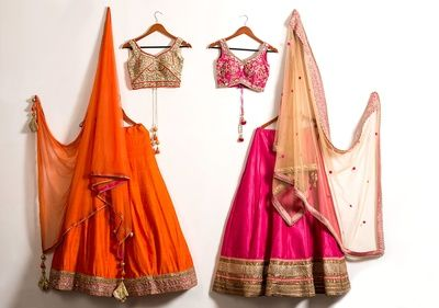 orange lehenga , pink lehenga , mehendi outfit, roka outfit