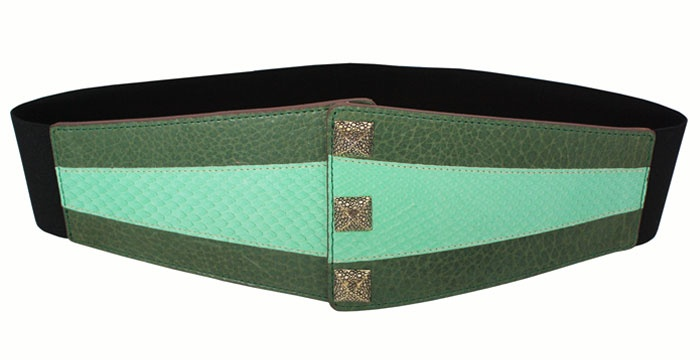 VANGLE - Genuine Python Leather - Made in Italy | Cintura con elastico realizzata in pelle di Vacchetta col. Verde e inserto in Pitone col. Menta - n°3 borchie in Ottone