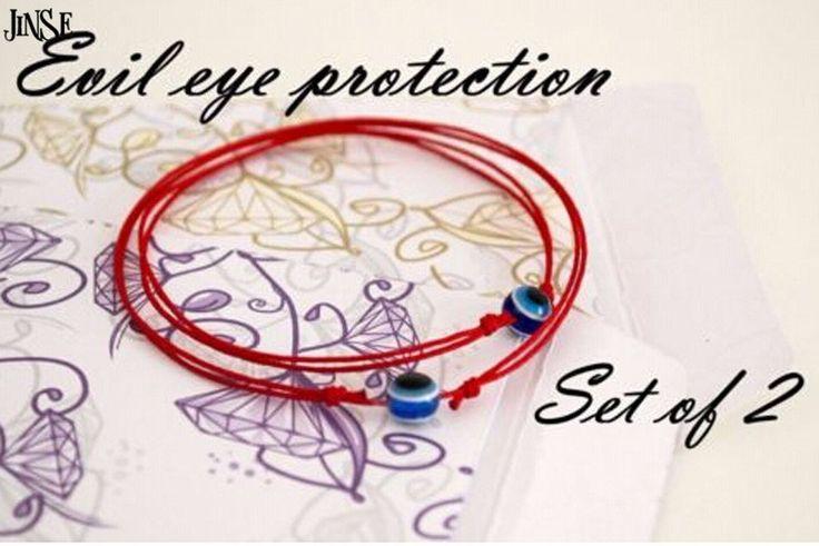 JINSE Red String Blue Evil Eye Simple Cheap Bracelet Fashion Kabbalah Bracelet For Women Baby Child Set of Two  BRS004