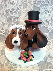 Polymer Clay Cake Topper wedding hound dogs