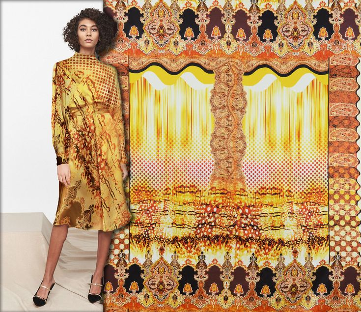 This gorgeous printed satin silk is the perfect fabric choice for a dress like the one in this image. Available now here: https://www.malagoli.ro/en/product/mr-162 #MalagoliFabrics #Fabrics #Silk #SatinSilk #PrintedSilk