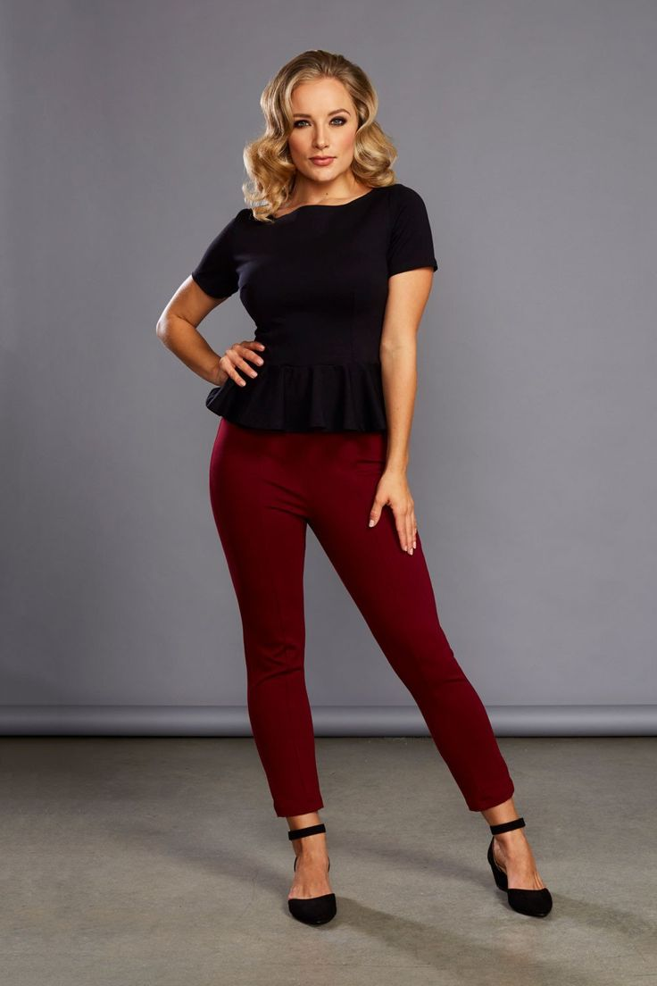 Laura Byrnes California Funny Face Pants in Wine Ponte - Work Wear - Collections | Pinup Girl Clothing