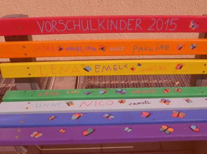 Kindergarten Abschiedsgeschenk Bank bemalen