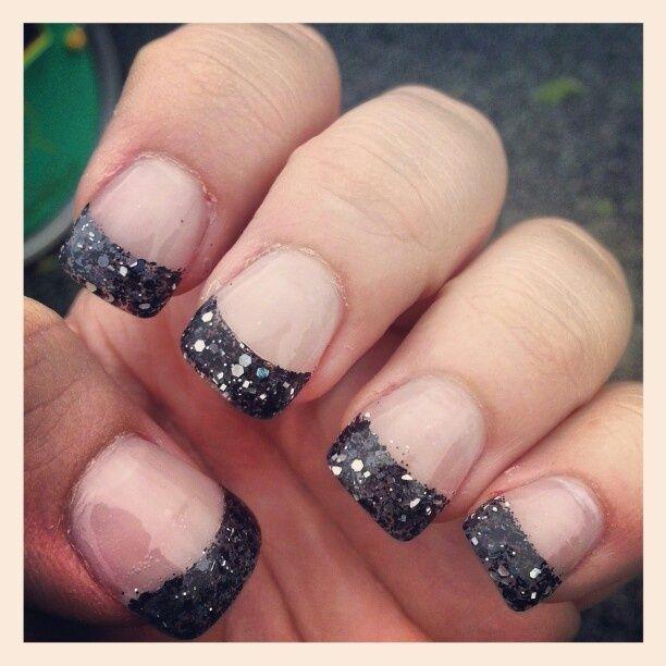 black glitter acrylic nails tips - 52.9KB