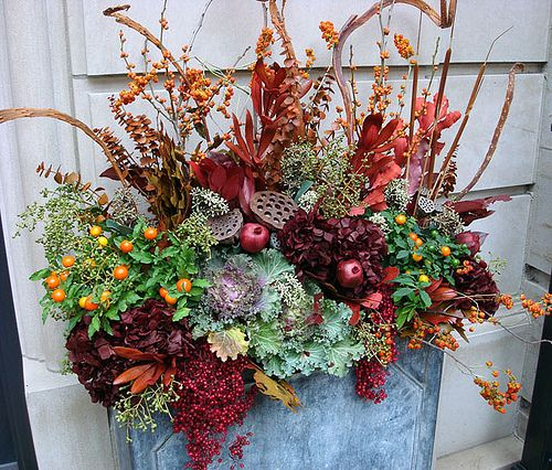 Fall Plants   Lush Fall Container By The Front Door (one On Each Side)  Using Potted Plants And Cut Accents.
