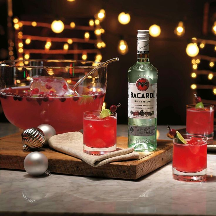BACARDI Gingerberry Rum Punch: 1 part BACARDI Superior rum 2 parts cranberry juice cocktail 2 parts Ginger Ale .25 parts Lime Juice .25 parts Lemon Juice 10 dashes Orange Bitters Garnish with Lime and Fresh Cranberries