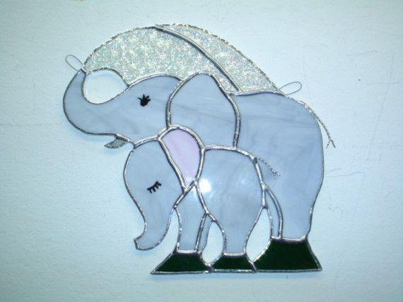 Elefante de vidrieras suncatcher por rdjglass4u en Etsy