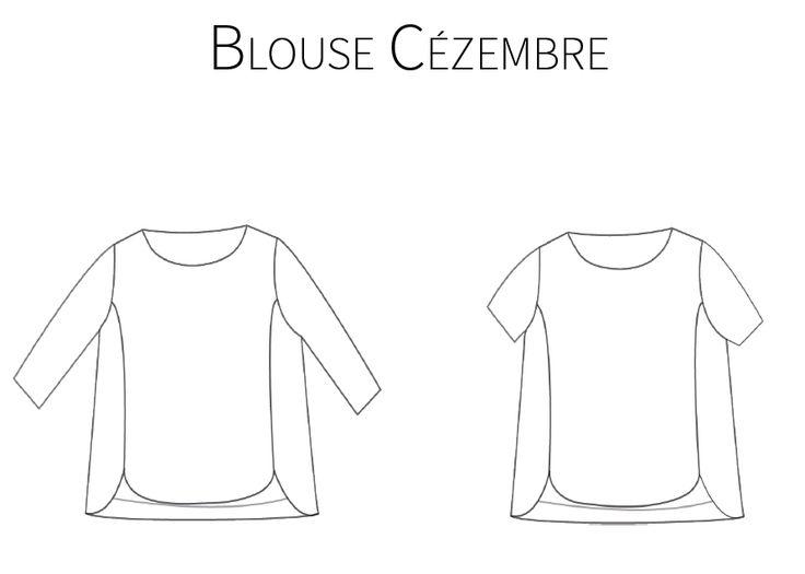 La blouse Cézembre est un modèle simple avec une pointe de sophistication apportée par les coutures princesses et ses bords arrondis. Le patron contient deux variantes: manches 3/4 et manches courtes. Le patron est proposé à taille réelle, du 36 au 44