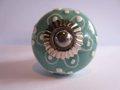 Hand Painted Ceramic Knob Turquoise White Emboss Flowers Cabinet Cupboard Handle   eBay