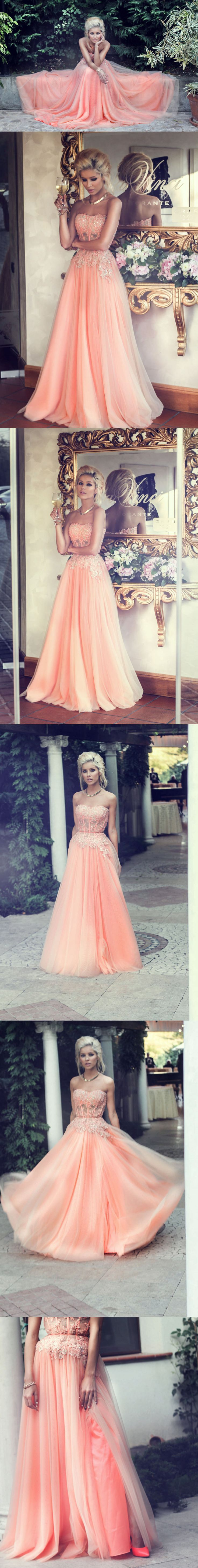 Diyouth.com Stunning Sweetheart Beaded Lace Appliques Pink Long Prom Dresses 2015,evening dresses 2015,pink prom dresses,sexy prom dresses,lace prom dresses,beaded evening party dress