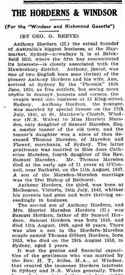 The Hordern dynasty Part 1 - Windsor and Richmond Gazette 21 May 1926, page 8