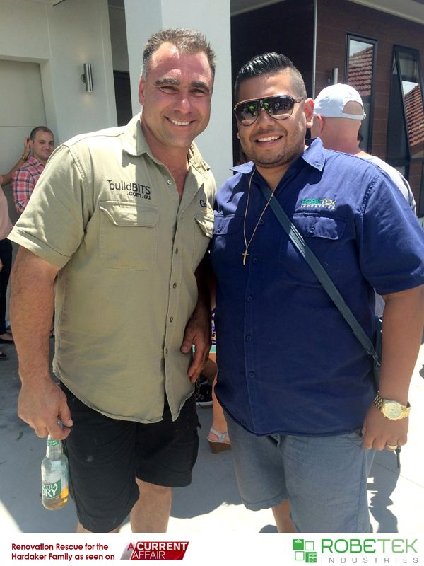 PAUL SILVA OWNER OF ROBETEK INDUSTRIES WITH BRAD FROM BUILDBITS. Renovation Rescue for the Hardaker family as seen on A Current Affair. Call 02 9608 8899 for FREE MEASURE & QUOTE (Sydney metro area)