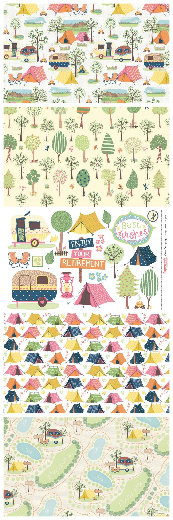These Cute Camping free digital papers are perfect for summer card making and…
