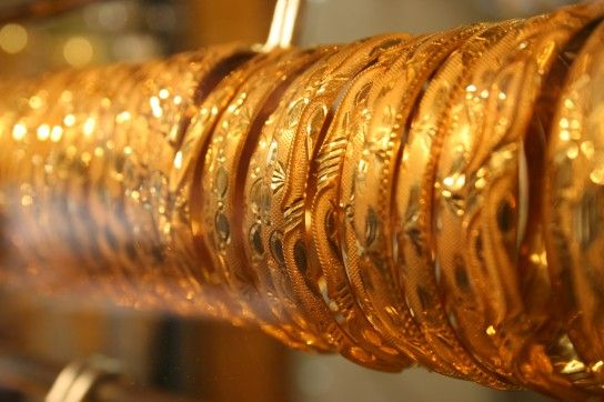 Some of the glittering products on display at the Gold Souk, Dubai, UAE