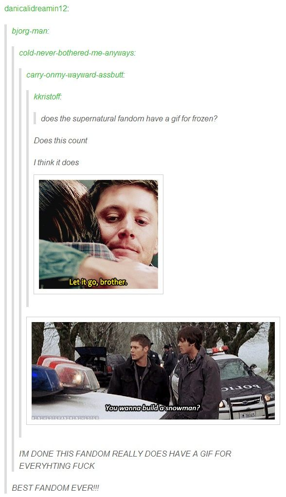 (gif set) Supernatural + Frozen. We literally have a gif for EVERYTHING.