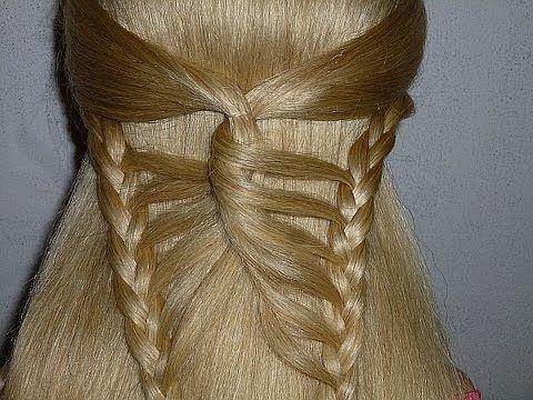 Причёска Бабочка. Причёска с плетением для средних, длинных волос. Красивые причёски в школу - YouTube