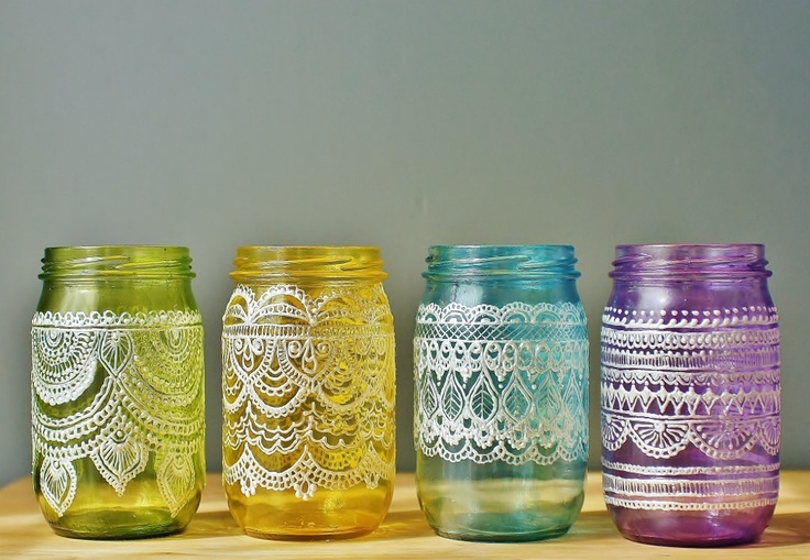 These would be so lovely on my windowsill -   Festive Spring Mason Jars Handpainted Moroccan by LITdecor on Etsy
