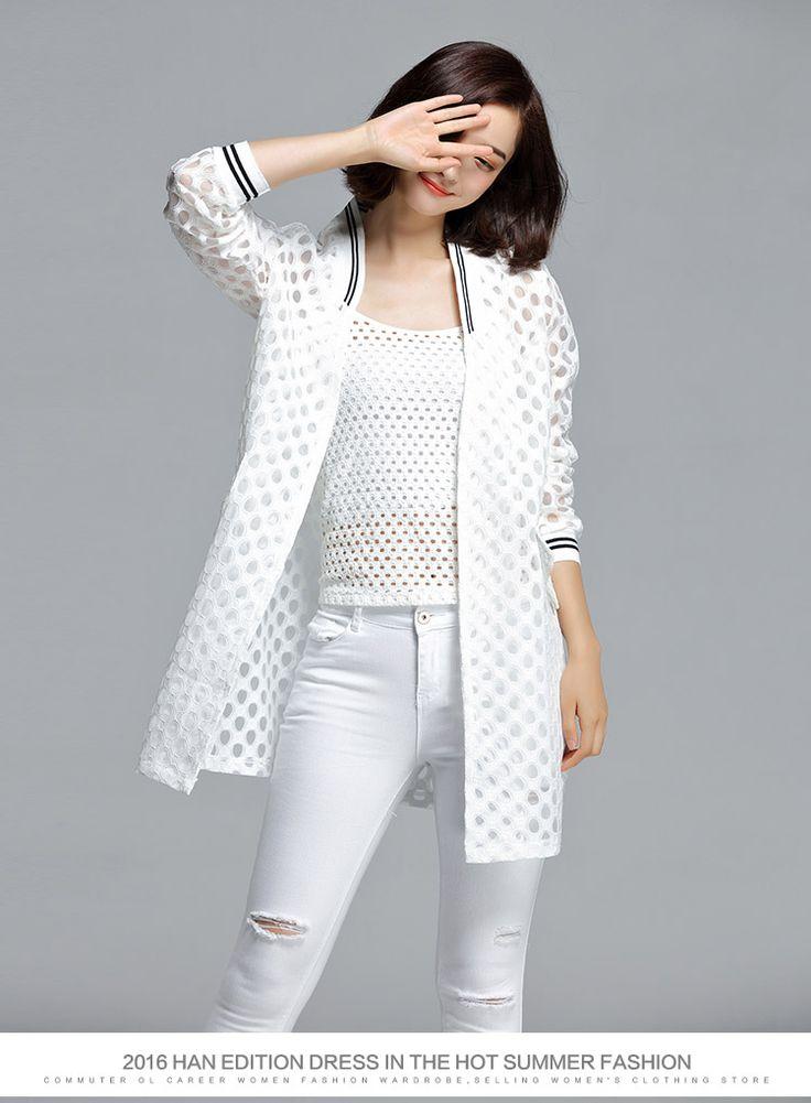 2016 летний новый корейский досуг мода женской одежды кардиган выдалбливают кружева большой размер lnthe долго предотвратить греться в рубашке купить на AliExpress
