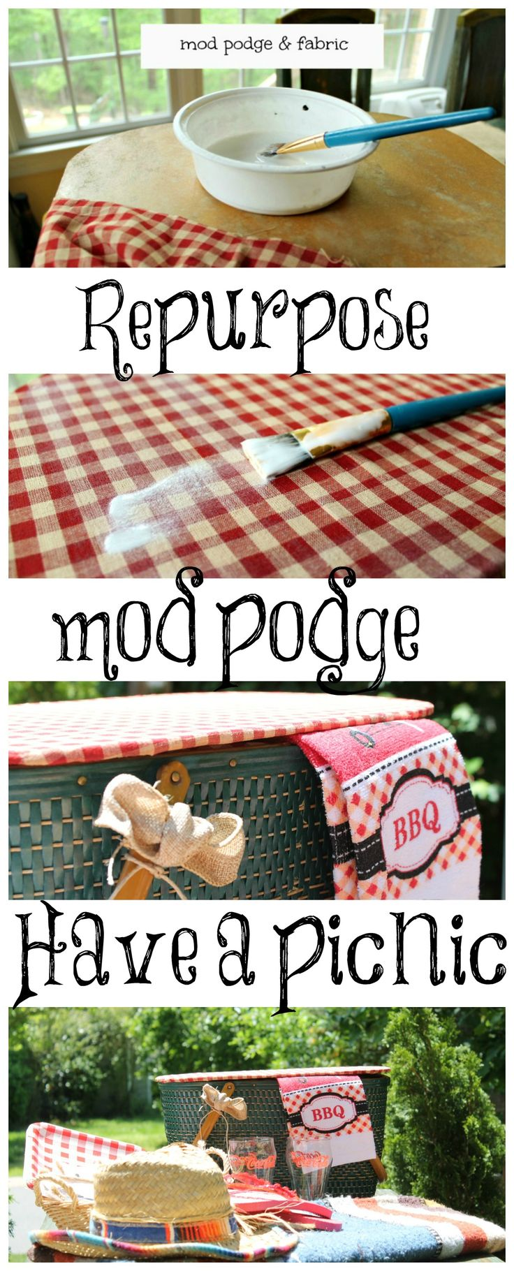 repurpose a #vintage picnic basket with fabric and mod podge