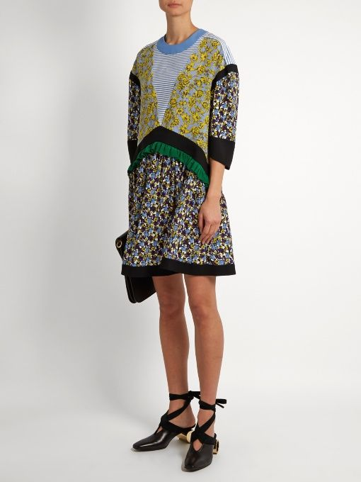 Find Msgm Floral-print Contrast-panel Silk Dress Only at Modalist