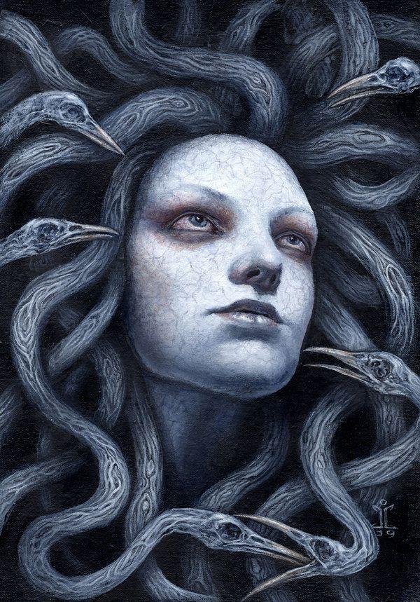 "pixelated-nightmares: ""Dead Avian Gorgon by larkin-art """