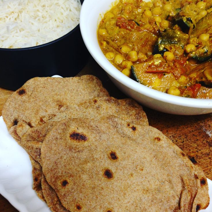 Chapatis homemade served with my delicious Eggplant and Chickpea Dahl