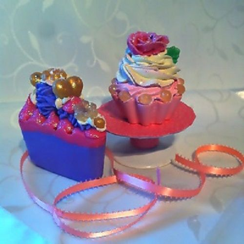 cold process soap cake slice and cupcale with hand piped roses
