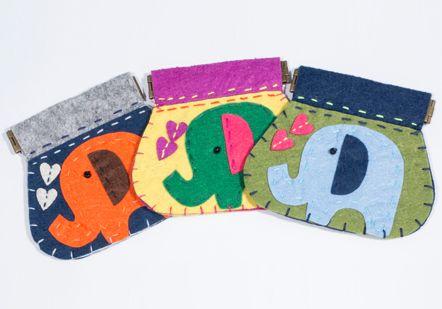 Handmade felt elephant purses - 2548