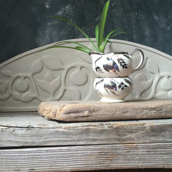 Sandland Sugar Bowl and Creamer Set: Vintage Stackable Silver Leaf Lustre Set, Vintage English China Set, Shabby Cottage Chic, Tea Party
