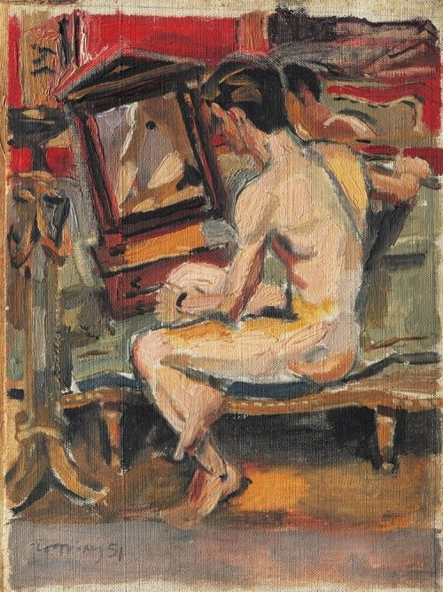 Male Nude before Mirrors , by Yannis Tsarouchis (1951) sculppp: