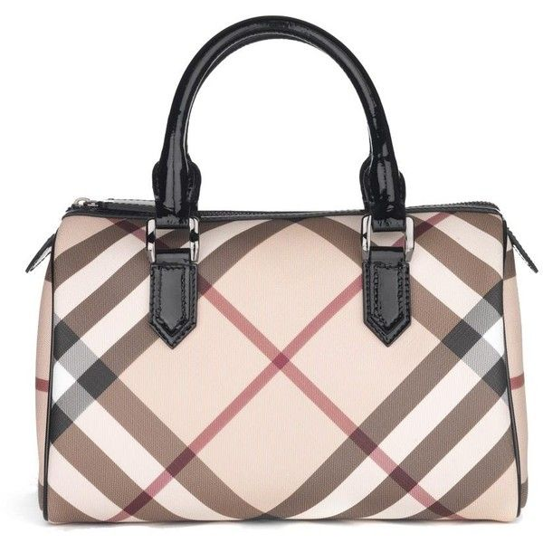 NOVA CHECK BOWLING BAG (€510) ❤ liked on Polyvore featuring bags, handbags, borse, purses, сумки, bolsas, burberry purses, genuine leather purse, pink leather purse and leather bowling bag