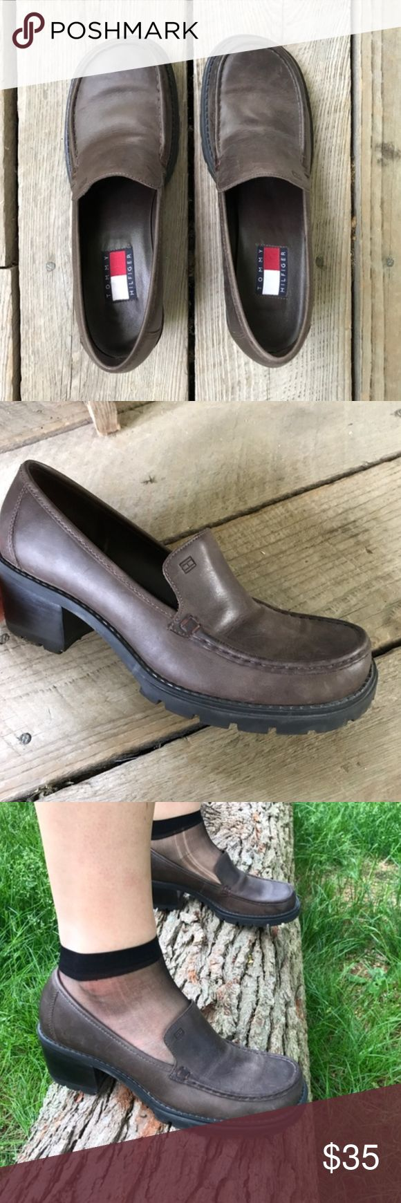 tommy hilfiger dark brown chunky heels Tommy Hilfiger dark brown chunky platform heels very 90s preppy looking! Would look great with a mini skirt or just jeans size 8  Genuine leather upper  let me know if you have any questions i'd love to help! Tommy Hilfiger Shoes Heels