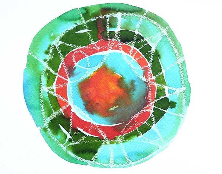 Abstract Mandala Painting (2015) Watercolor by Ewa Dabkiewicz | Artfinder