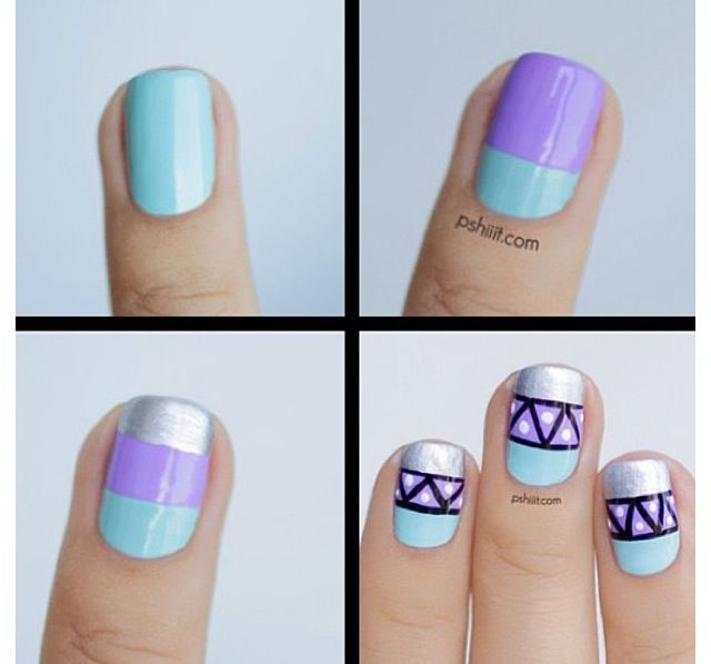 Pastel lavender, mint and silver Aztec nail art