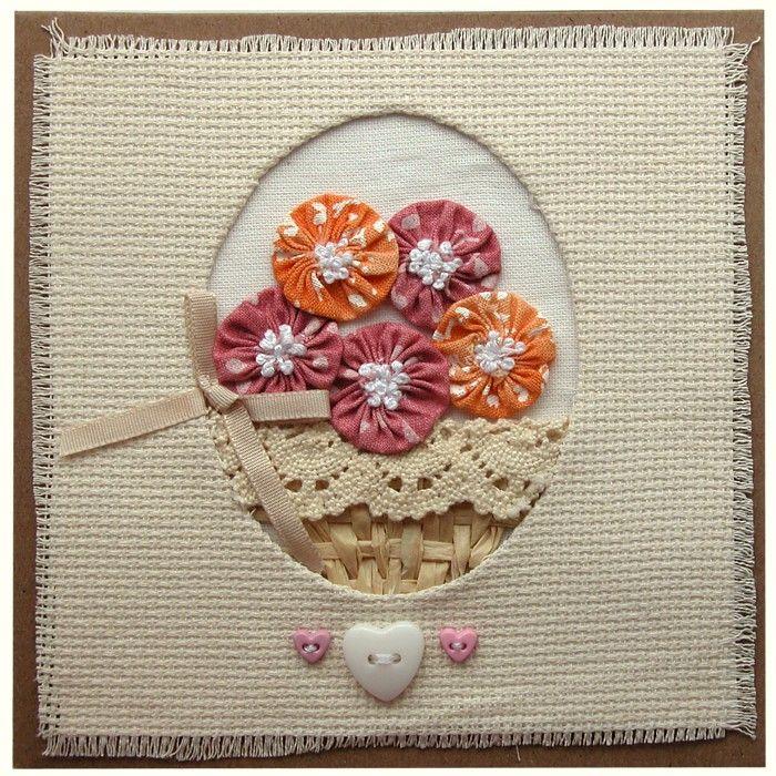 Přání textilní koláž Košík květin