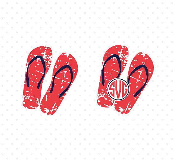 bcaf44224 Distressed Flip Flops SVG Summer SVG Flip Flops monogram Grunge svg Summer  Life Love Vacation svg Cricut svg files Silhouette cut files