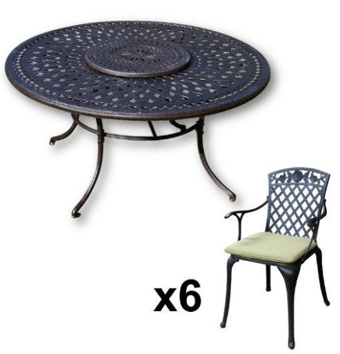 Lazy Susan Furniture Frances 150 Cm Round 6 Seater Cast Aluminium Garden Set Cool Outdoor